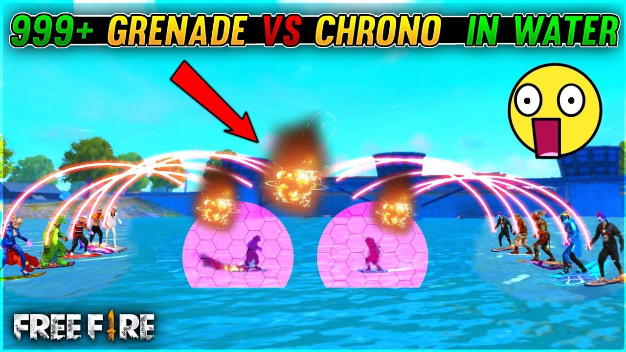 999+ Grenades Vs 49 Chrono In Water In Free Fire - Grenade Vs Chrono Funny Match - Garena Free Fire