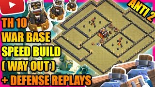 Clash Of Clans - Town Hall 10 (TH10) War Base with Bomb Tower + Defense Replays   ANTI 2 STAR   2017