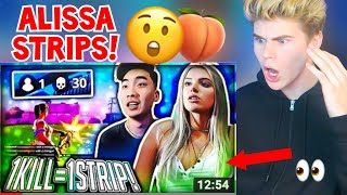 REACTING TO 1 KILL = REMOVE 1 CLOTHING w/ Alissa Violet (Fortnite Battle Royale Gameplay) MUST WATCH