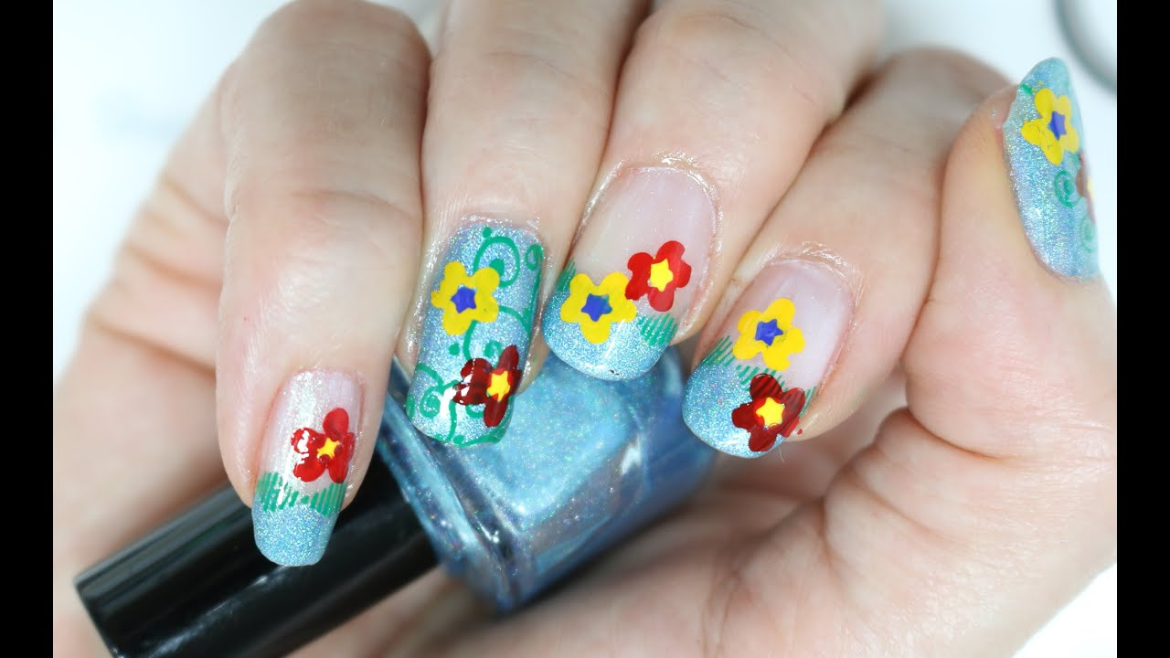 Nail Art Design Clear Jelly Stamper Free Form Flowers - YouTube