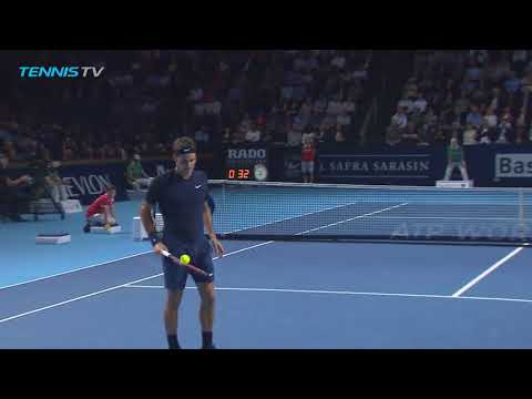 AMAZING: Roger Federer magical ball catch! | Basel 2015