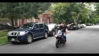 Girl wants to ride motorcycle / she's a naughty one