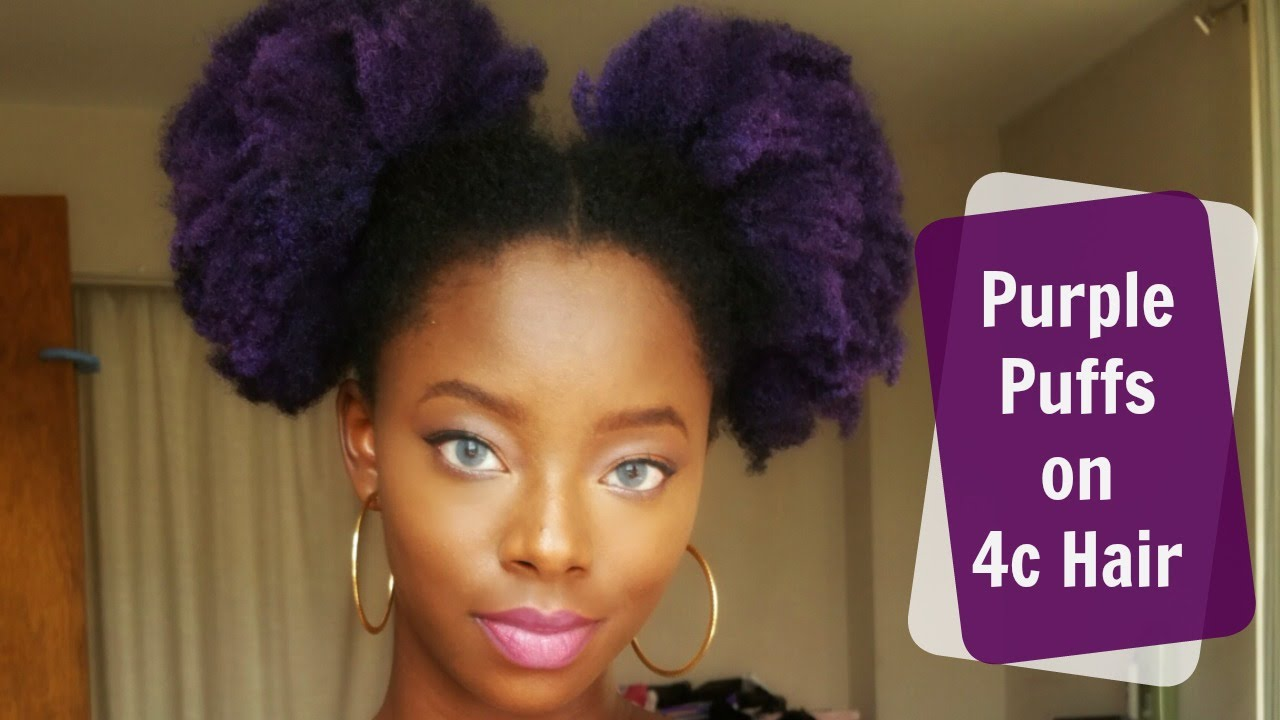 Purple Puffs On 4c Natural Hair No Bleach Youtube