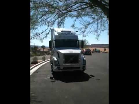 Dog honking semi truck horn