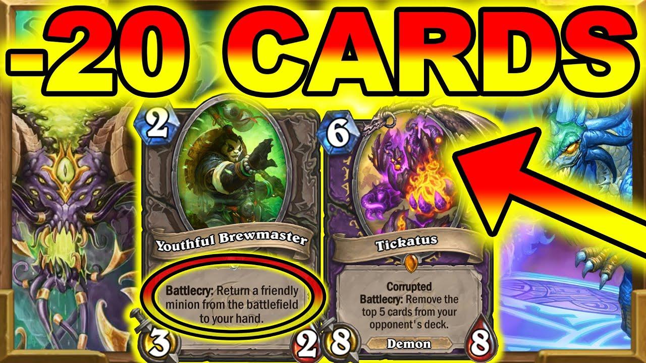 Tickatus -20 Cards Fun And Interactive! Control Warlock Needs Nerf ASAP! Barrens | Hearthstone