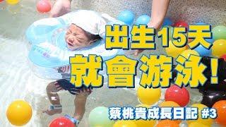 【蔡桃貴成長日記#3】出生15天 就會游泳了!【蔡阿嘎Life】