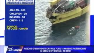 Ferry Disaster  Philippines ferry Thomas Aquinas sinks at Cebu