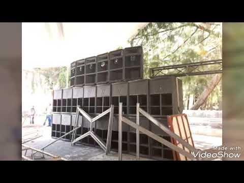 El eco del acordeón cumbia sonidera con imágenes de equipo de sonido y camiones