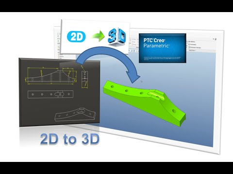 Creo 3.0 Tutorial: How to convert 2D drawing to 3D model