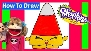 How To Draw Shopkins Mandy Candy Corn Step By Step Easy Halloween 2016  How To Draw For Kids Drawing