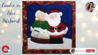 Cuadro Navideño - Patchwork sin aguja - Mamá y Papá Noel