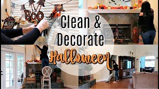 CLEAN WITH ME AND HALLOWEEN DECORATE WITH ME 2018 | SPEED CLEANING MOTIVATION | VLOGTOBER DAY 2
