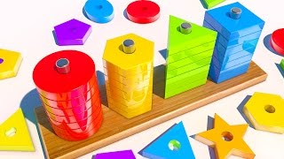 Repeat youtube video Learn Shapes with 3D Wooden Toy for Kid and Children