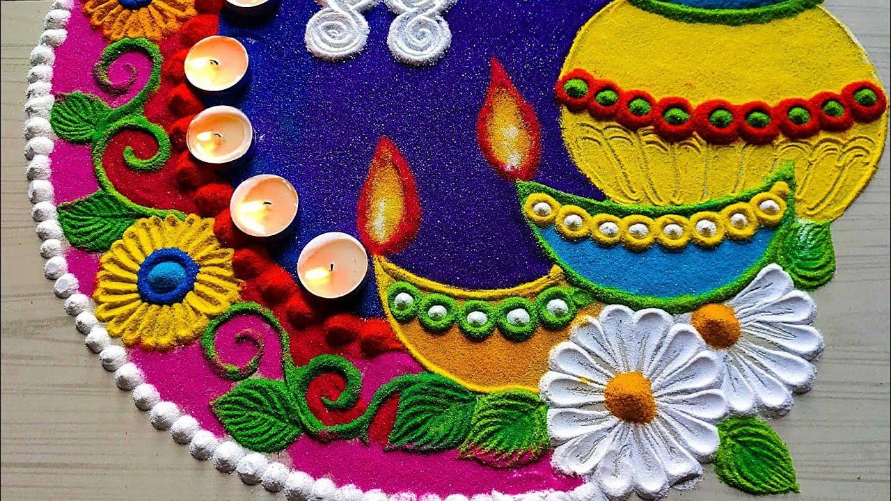 Diwali special rangoli 2020/navratri rangoli designs/stress relief satisfyingrangolivideo