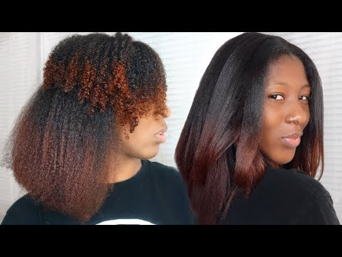 CURLY TO STRAIGHT HAIR TUTORIAL | with NO FRIZZY ENDS on Type 4 Hair