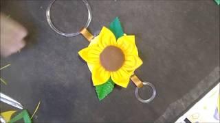Porta Pano de Prato de Flor de Girassol em Feltro