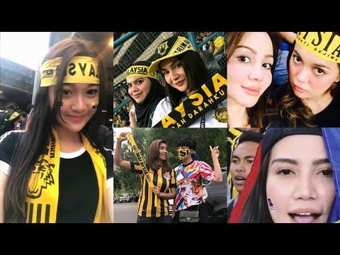 Artis cun Malaysia yang turun stadium menonton final bolasepak Sukan Sea Malaysia vs Thailand