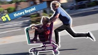 MOBBING DOWN A HILL IN A SHOPPING CART! *FORTNITE*