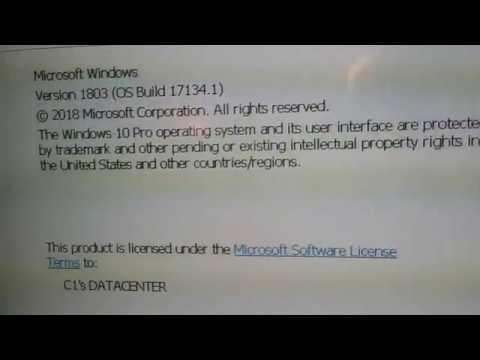 Windows 10 1803 running on a Dell OptiPlex 755