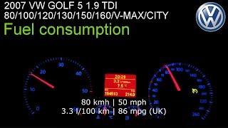 2007 VW Golf V 1.9 TDI 105 hp - Fuel consumption Zużycie paliwa