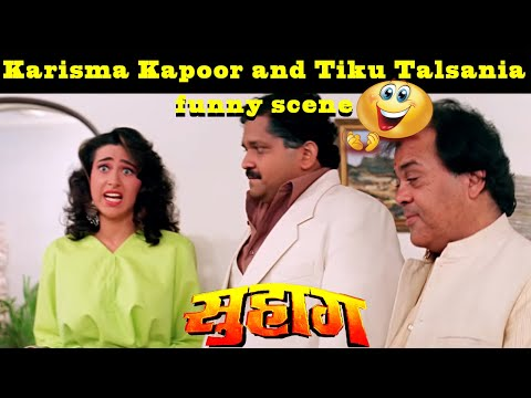Karisma Kapoor and Tiku Talsania funny scene | Suhaag Hindi action Movie