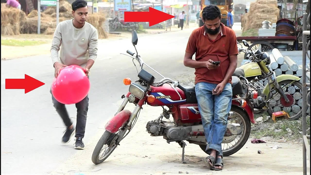 Popping Balloons REACTION With Tyre Puncture Prank! Full Part