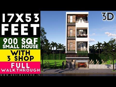 17x53 Feet Ground Floor 3 Shop With Car Parking Plan-9