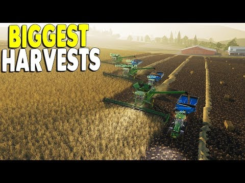 Biggest Multiplayer Farm Crew Harvest Biggest Fields | Farming Simulator 19 Gameplay
