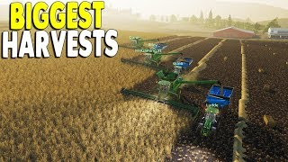 Biggest Multiplayer Farm Crew Harvest Biggest Fields | Farming Simulator 19 Gameplay