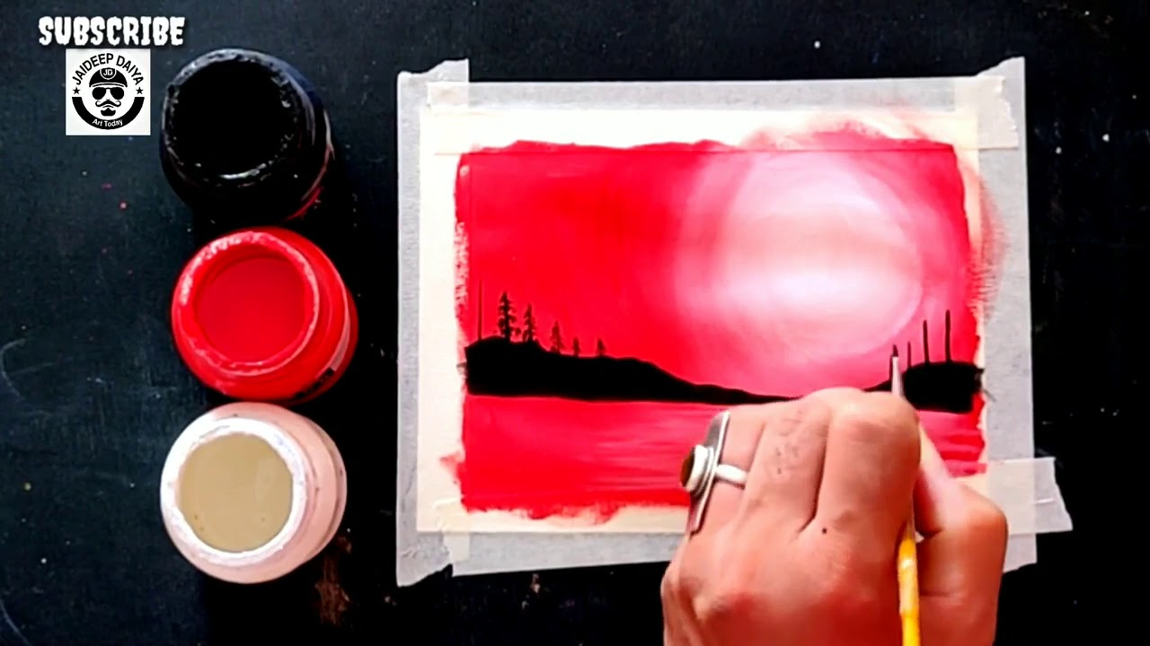 Easy Poster Colours Scenery Painting Ideas Step By Step For Beginners Youtube