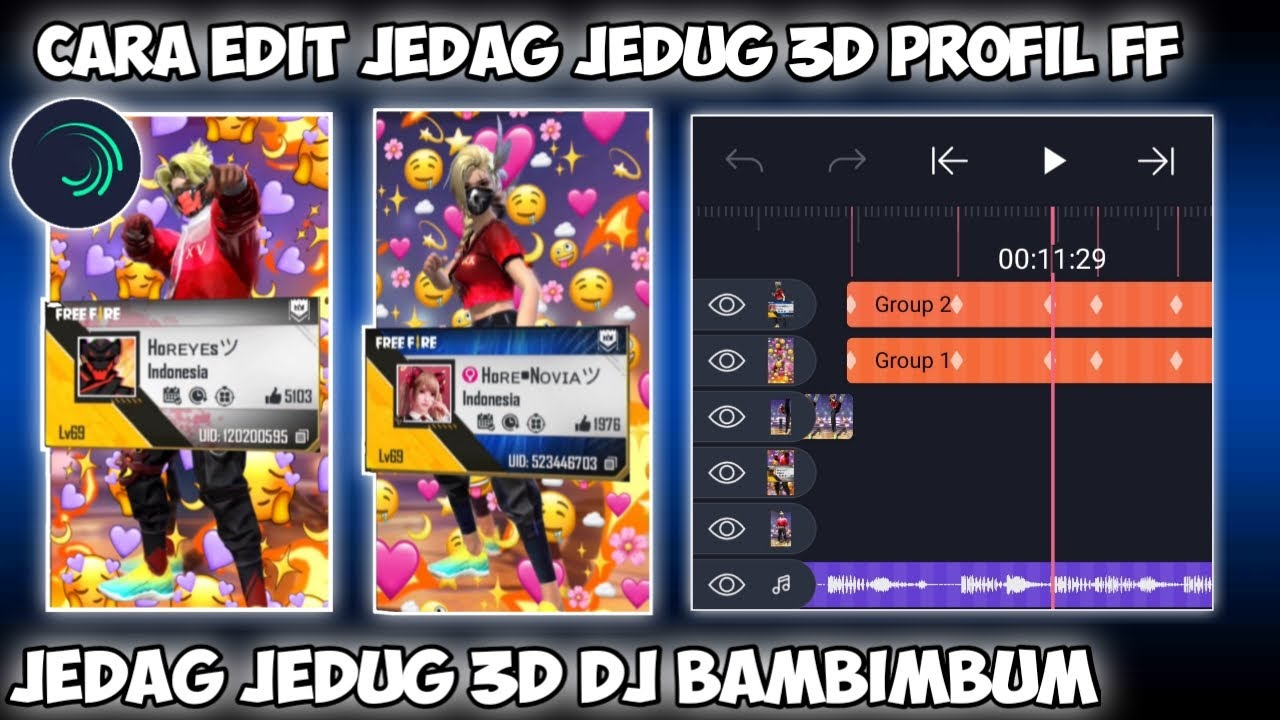 CARA EDIT JEDAG JEDUG 3D PROFIL FF DI ALIGHT MOTION