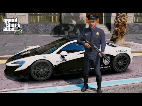 GTA 5 FRANKLIN PLAY AS A COP MOD #6-MCLAREN P1 POLICE PATROL