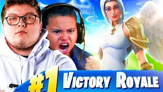 MY LITTLE BROTHER PLAYS LIKE GHOST AYDAN WITH THESE SETTINGS! *NEW* SKIN IS INSANE! FORTNITE BR