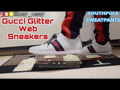 Gucci Glitter Web Sneakers with Studs