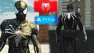 New PS4 Spider-man Black Suit Costume Gameplay - The Amazing Spider-man 2(PC) MOD