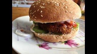Рецепт как приготовить мясной гамбургер, Самый вкусный бургер с мясом, кетчупом, луком и огурцом