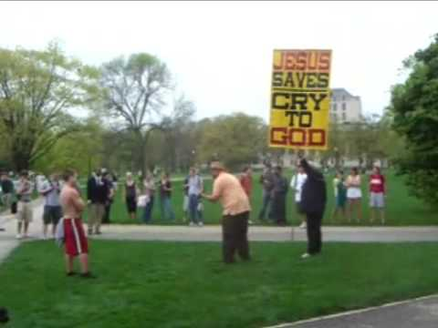 Silly Atheist BEGS THE QUESTION (Ohio State University - Kerrigan Skelly)