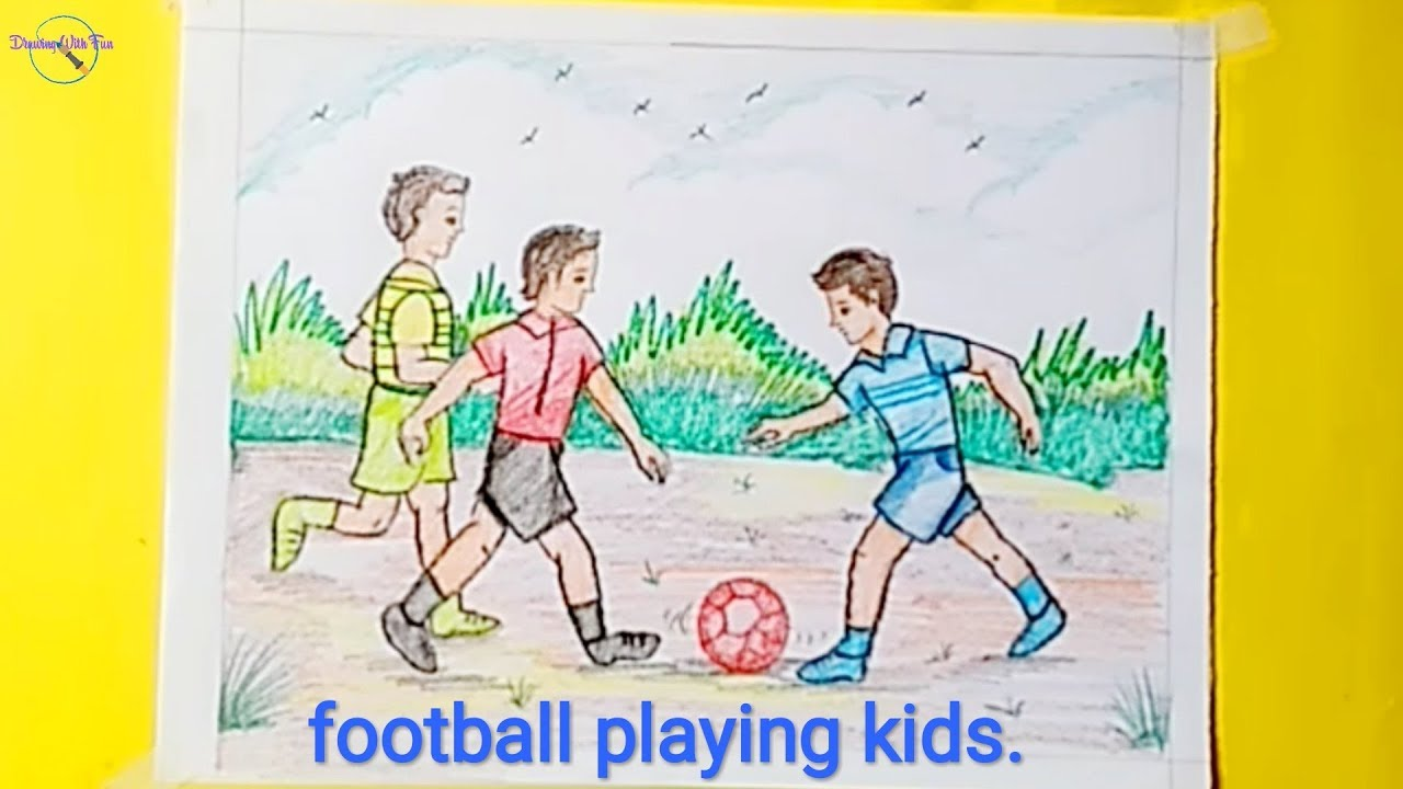 Football Playing Kids Memory Drawing Of Soccer Play How To Draw Football Football Soccer Youtube