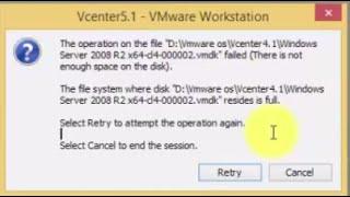 Operation on file  .vmdk failed