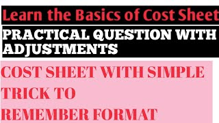 Cost Sheet Practical Question