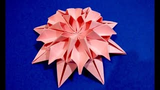 Origami flower dahlia . Easy to do and rich. Ideas for Christmas decoration