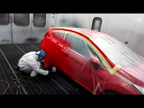Ford Fiesta paint spraying – Race Red