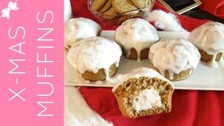 Glazed Eggnog Cheesecake Pumpkin Muffins With Gingerbread Cookie Crust