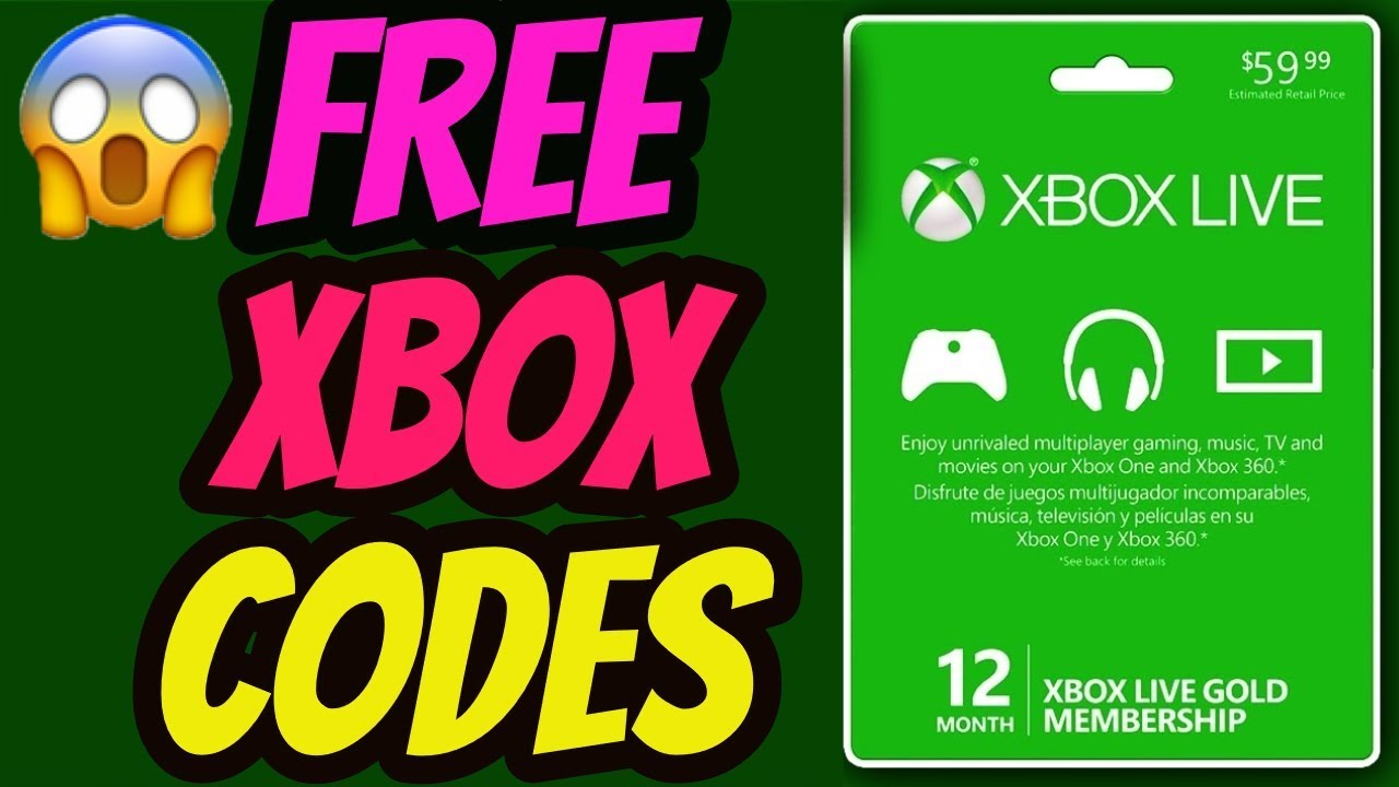 Free Xbox Codes Free Xbox Live Gold Codes 2020 Youtube