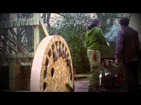Steam bending wood, oak yurt wheel