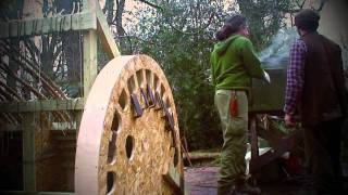 Steam bending wood, oak yurt wheel