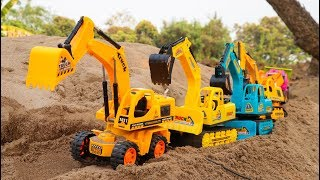 John & Jame Construction Vehicles Friends - Superhero & Car Toys | Excavator , Truck