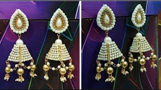 New Silk Thread Pearl Designer Earring making at Home||PEARL EARRING MAKING AT HOME
