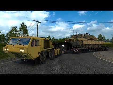Oshkosh Hemmit Transportando un Tanque M1A2 Abrams de Dinamarca a Alemania
