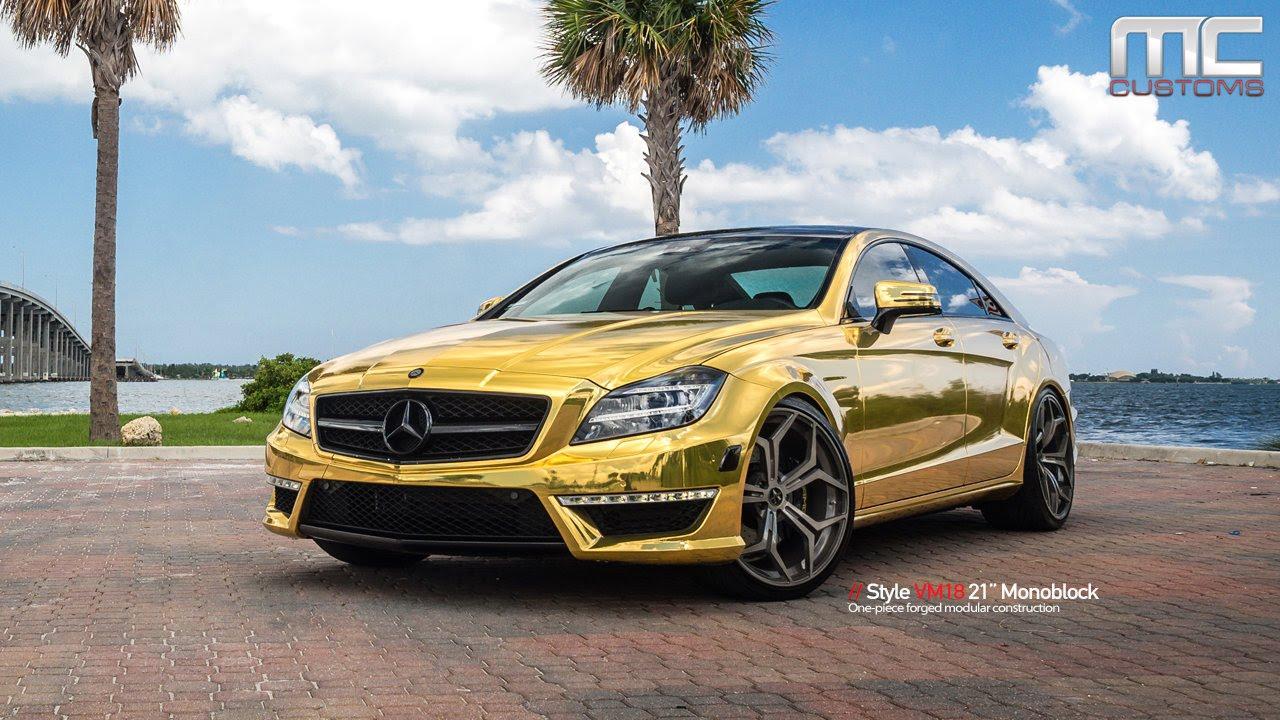 Mc customs gold mercedes benz cls63 vellano wheels for Six wheel mercedes benz